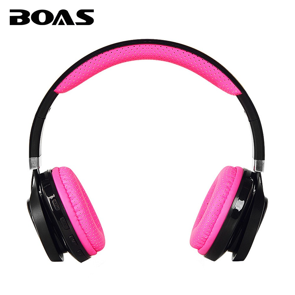 BOAS Wireless Bluetooth 4.2 Headphones Portable Handsfree Headset Earphone with MIC Support TF card FM radio for Iphone 7 Xiaomi boas car driver bluetooth earphone wireless handsfree handphone base charger dock in ear hook headset with mic for iphone xiaomi