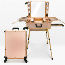 6 types Studio Wheeled Trolley Makeup Case & Organizer with Light LED Lighted Beauty Box with Legs