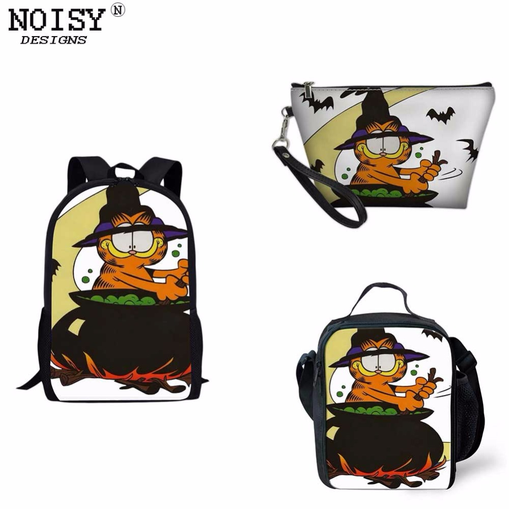 0889a17c43 Go to Halloween with Garfield Printed Pencil Case Backpack School Bag Lun  box For Children Kids