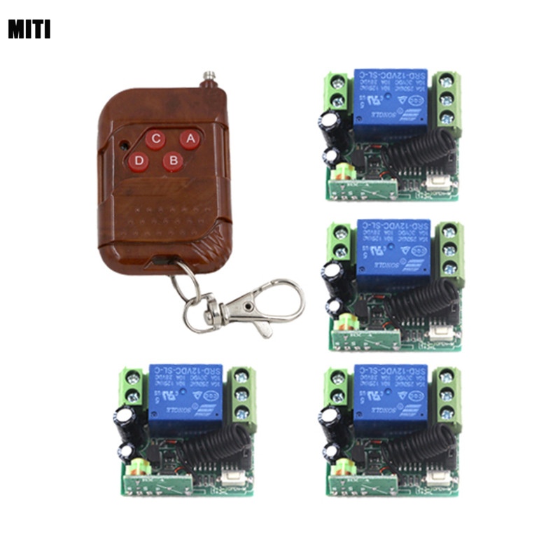 2016 New 12V 1CH Channel RF Wireless Remote Control Relay Switch/Radio System 2 Mini Receiver& 2 Metal Transmitter 4266