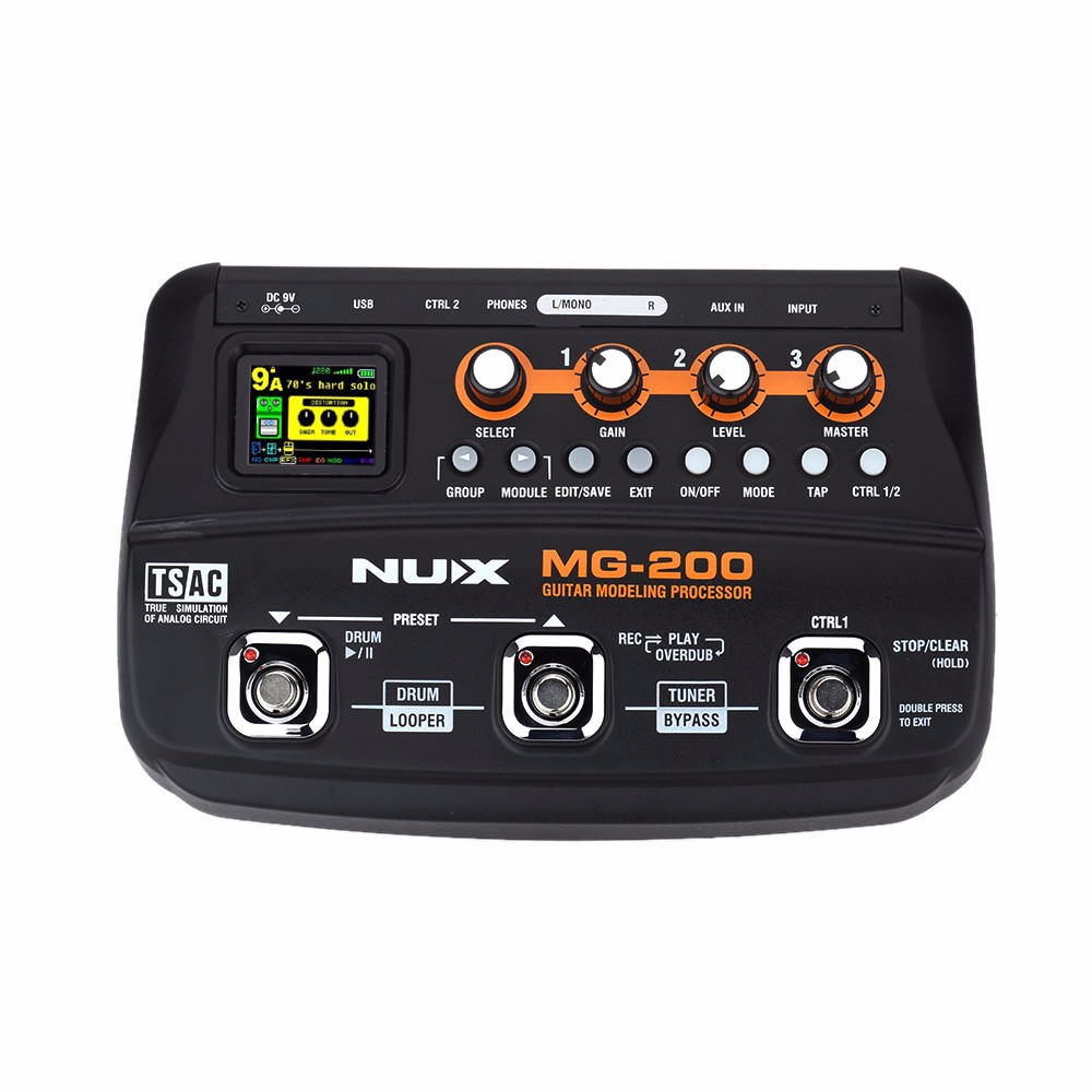 NUX MG-200 Guitar Modeling Processor Guitar Multi-effects Processor with 55 Effect Models EU Plug Top Quality nux mg 20 electric guitar multi effects pedal guitarra modeling processor with drum machine eu plug