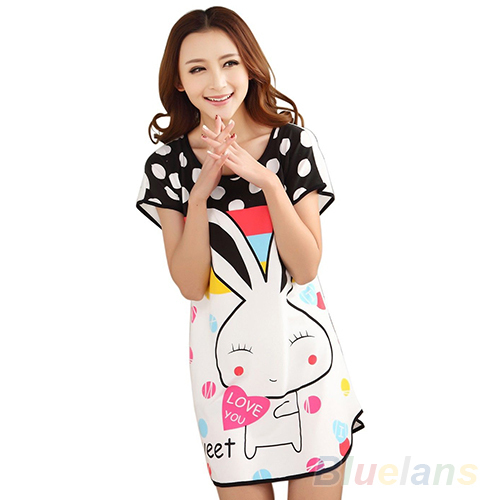 2016 Fashion Cartoon Women nightwear Polka Dot Sleepwear Short Sleeve Sleepshirt nightgown 8MVV