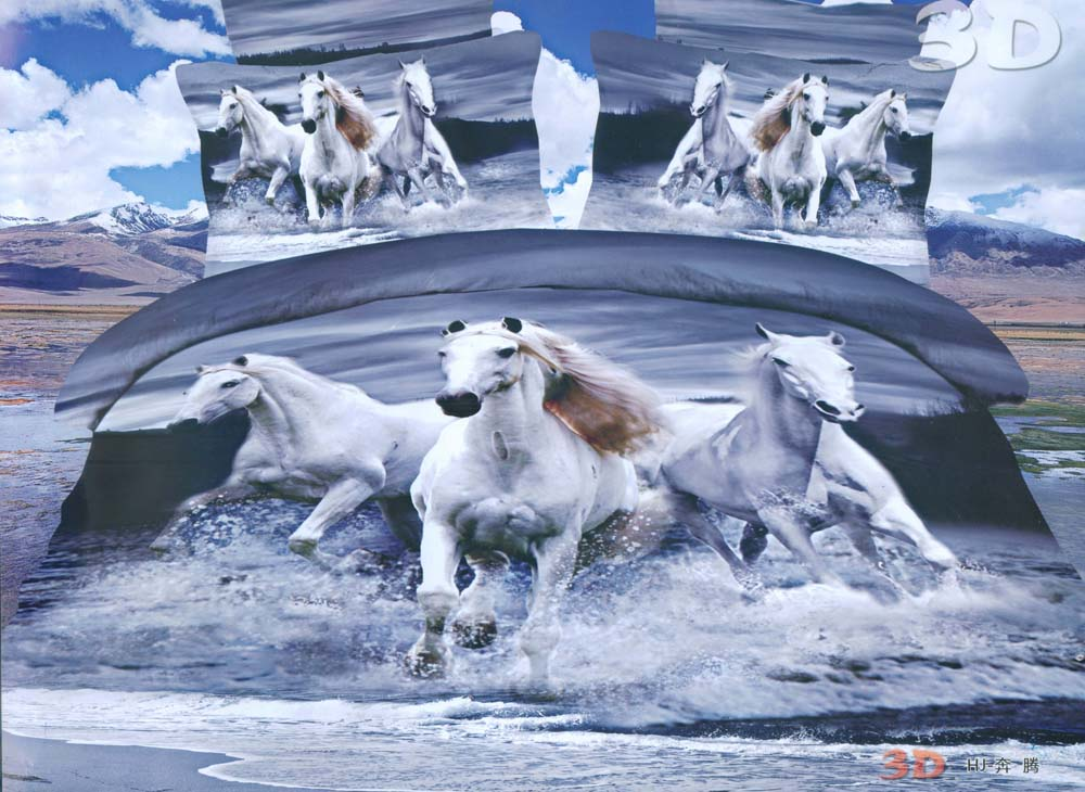 European And American Style Three White Steed Running