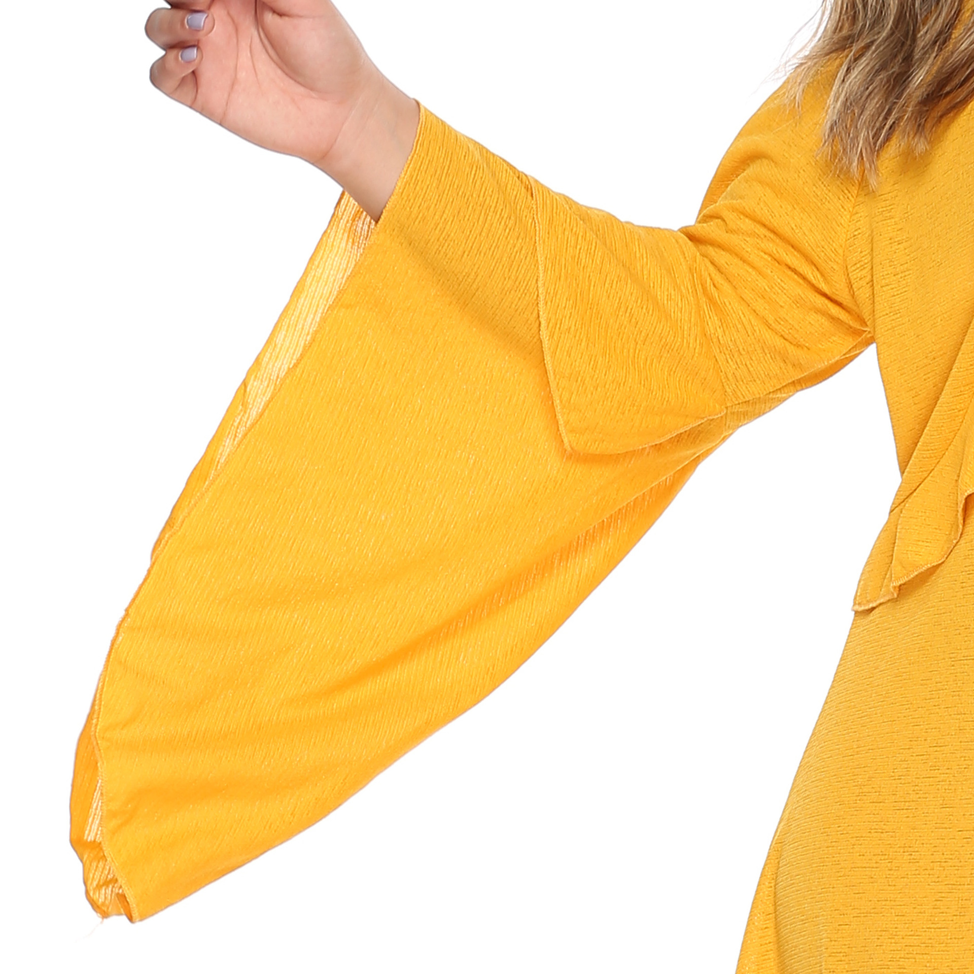PGSD Summer casual big size trumpet sleeve auricular edge loose solid color Mid length dress female yellow women clothes 4XL in Dresses from Women 39 s Clothing