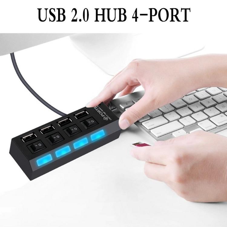 Multiple Converter Adapter High Speed 4//7 Port USB Hub Power on//off Switch