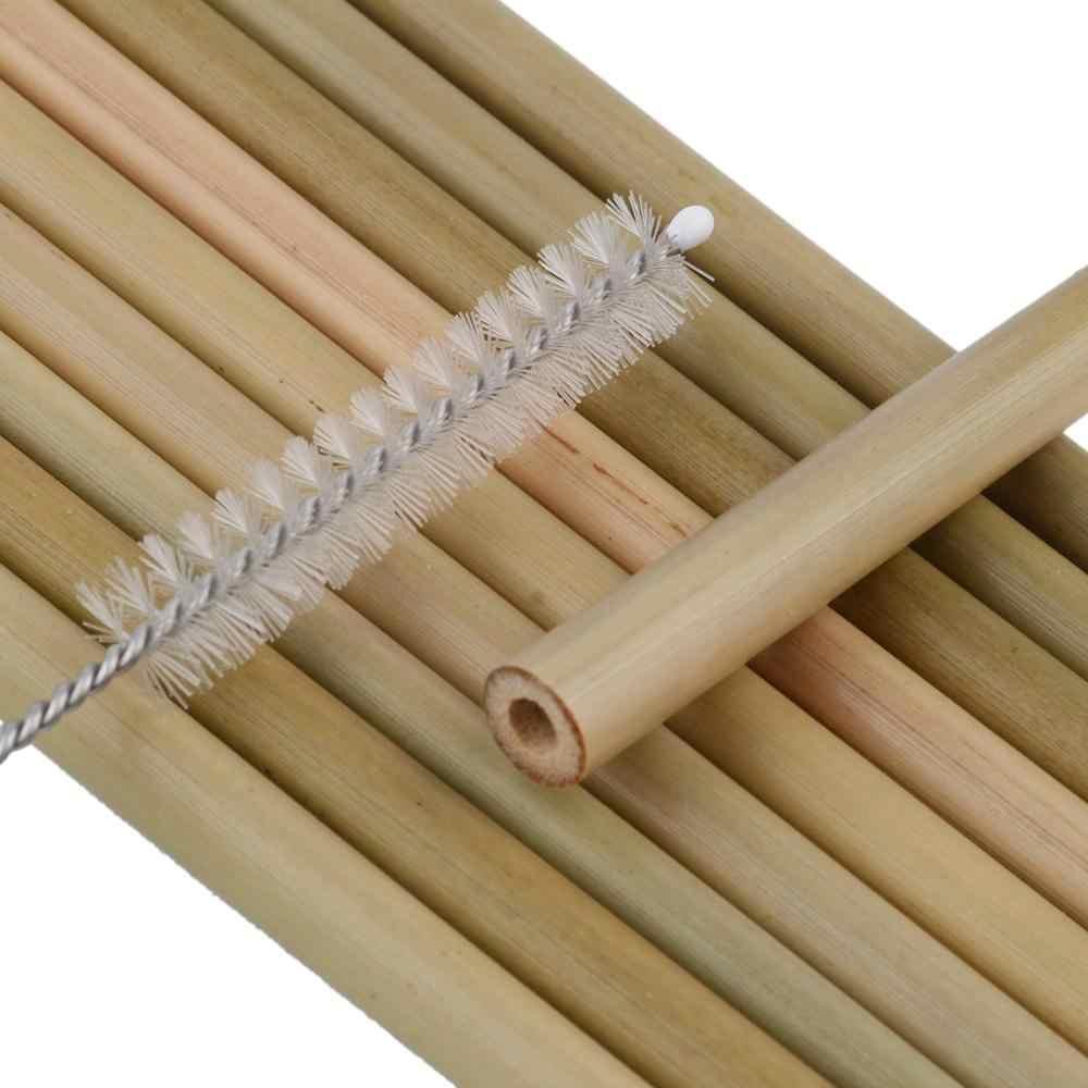 Pajilla reutilizable de bambú orgánico de 10 Uds., pajilla reutilizable para fiestas, pajitas de madera biodegradables para bodas