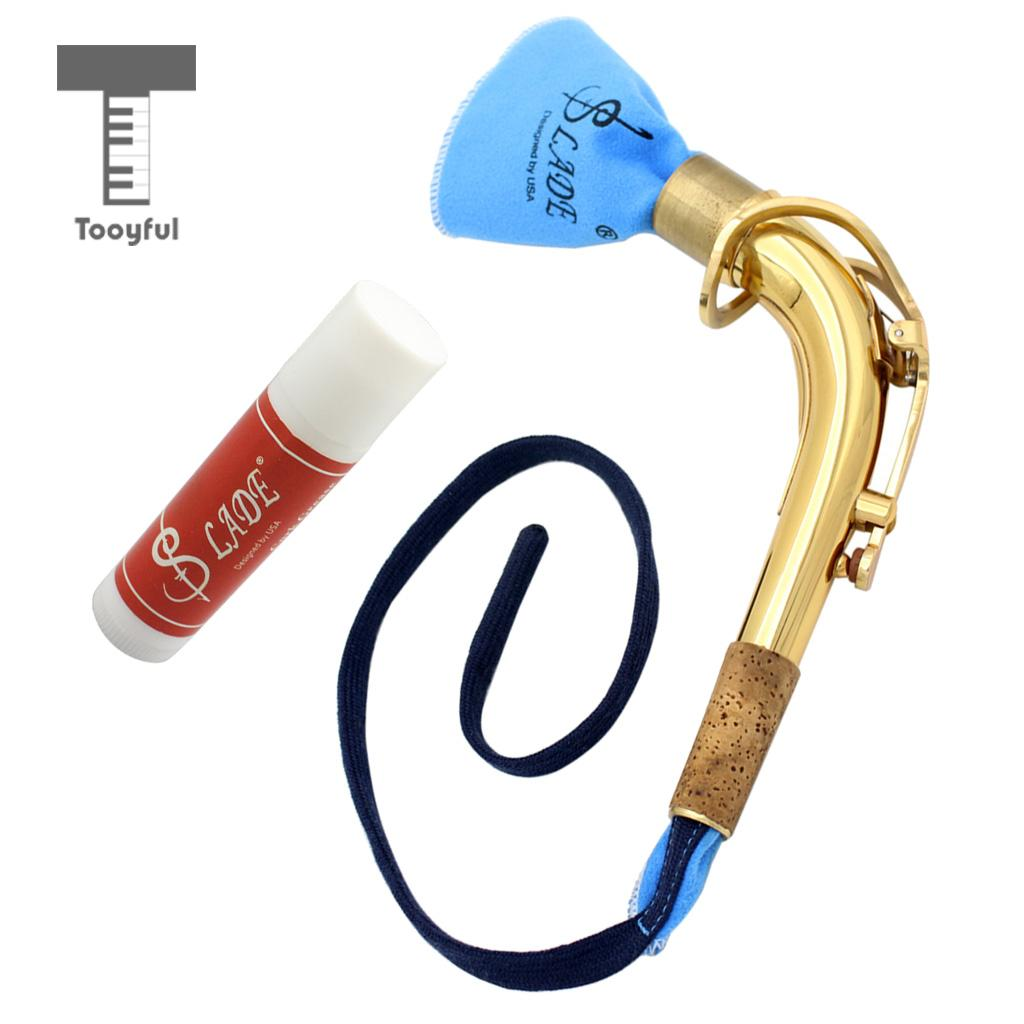 цены Tooyful Alto Saxophone Sax Bend Neck Metal with Cork Grease Cleaning Cloth for Woodwind Instrument Accessory