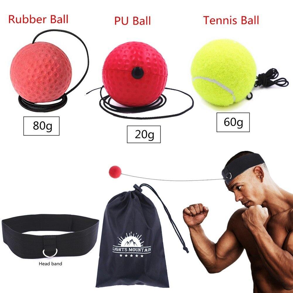 O Nível de Dificuldade de Boxe boxe Reflex Bola Set 3 Bolas com faixa de Cabeça Ajustável para a Perfuração de Velocidade de Reação de Treinamento Da Agilidade