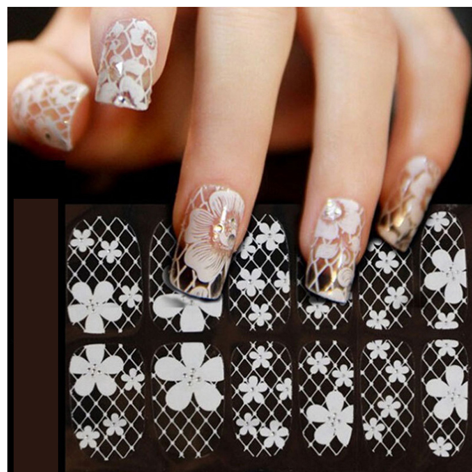 Sliders for Nails 3D Lace Nail Art Wraps Flowers Nail Stickers and ...