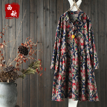 2017 new mori girl National trend print shirt loose 100% cotton one-piece dress female spring medium-long pullover