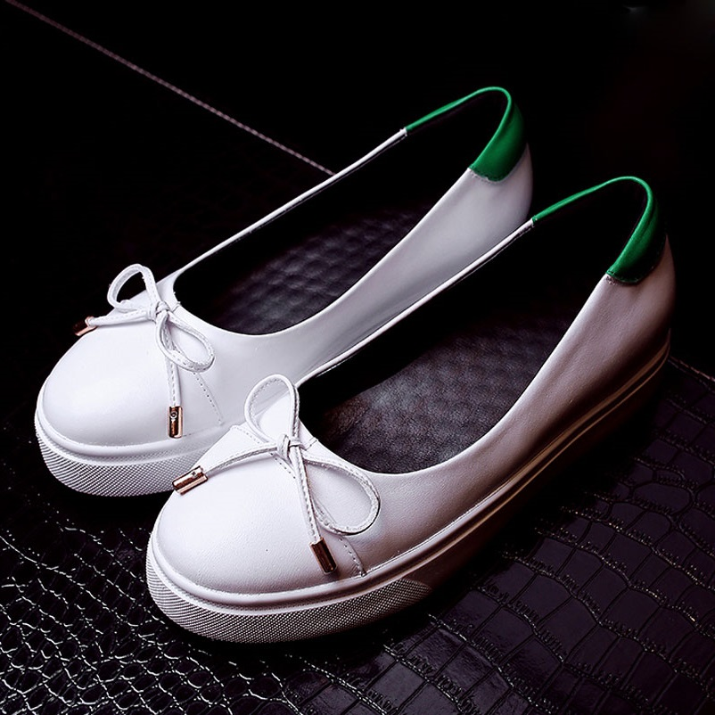 ФОТО Women Luxury Bowtie Casual Shoes Woman Spring Autumn Women Loafers Real Leather Ladies Shoes Fashion brand Platform Flat Shoes