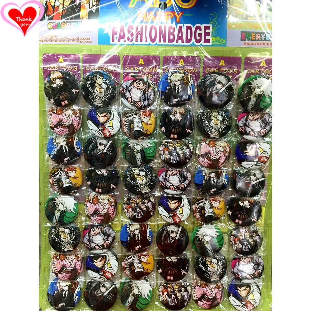 Mīlestība Paldies Danganronpa 45MM 16/24/32/40/48 gab daudz PIN ATPAKAĻ BADGE BUTTON BROOCH BAG GIFT TOY CLOTH Karikatūra un anime