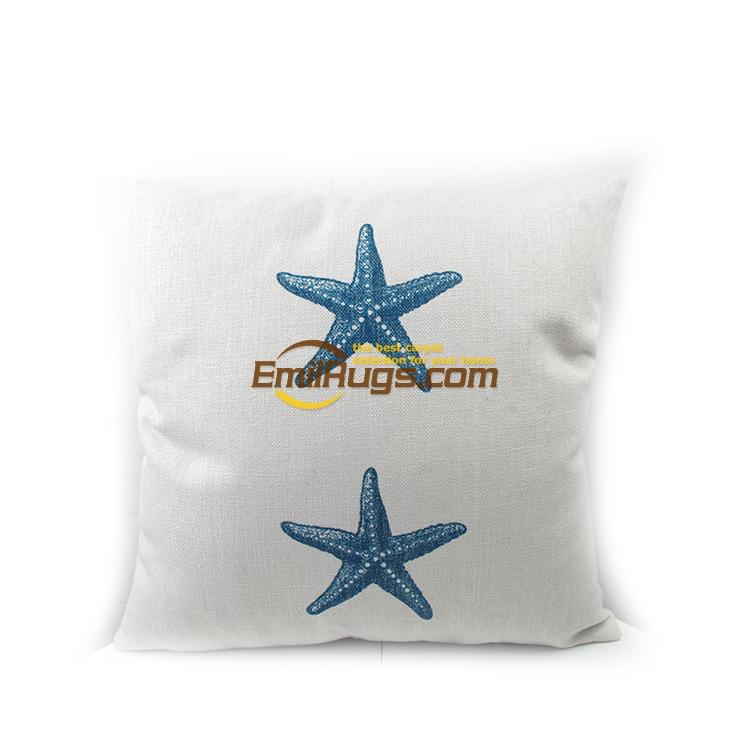 Cotton and Hemp Printing Sea Animal Starfish do Old style cushions small fresh coffee sh ...
