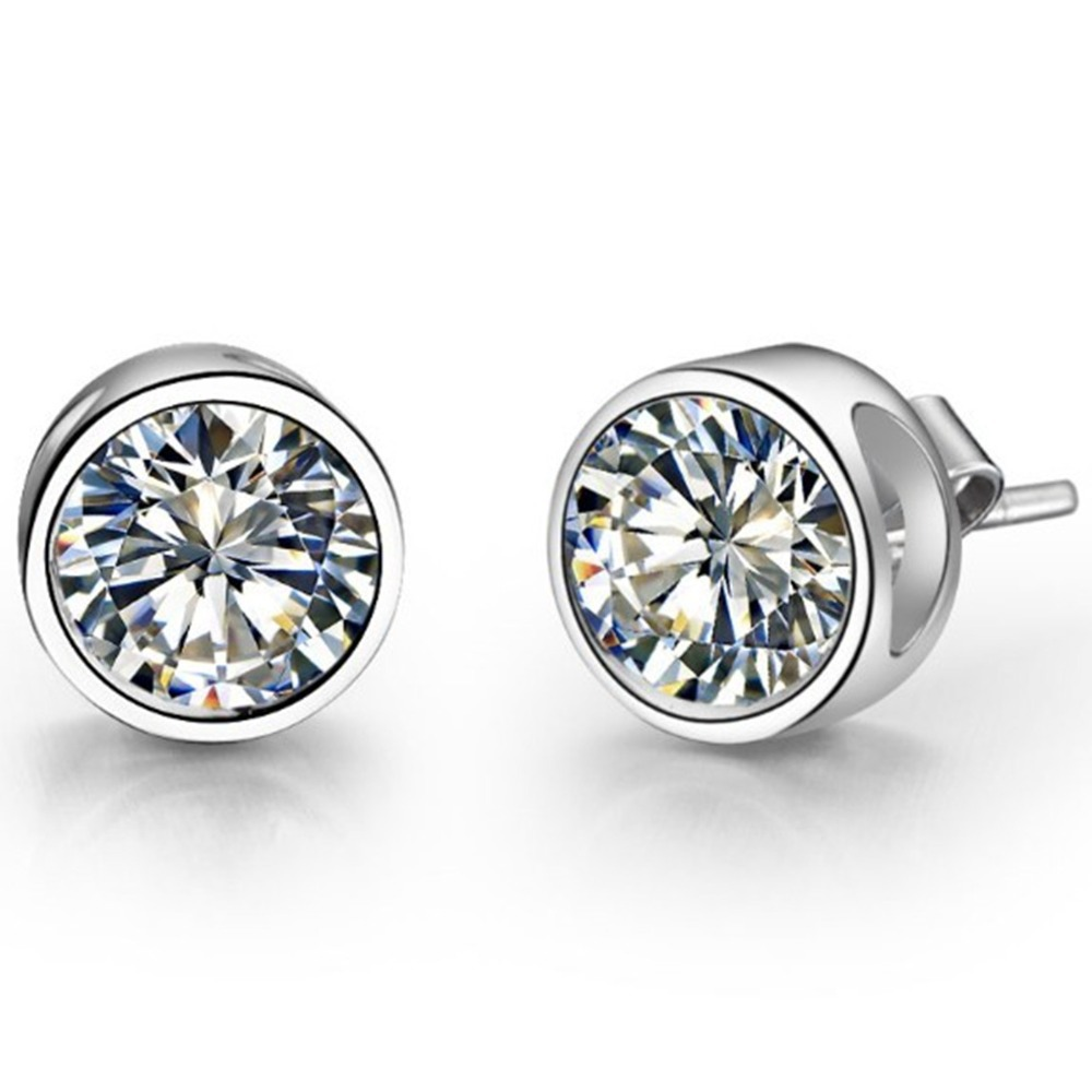 Piece Moissanite Earrings Stud Solid 585 White Gold Engagement Earring  Stud For