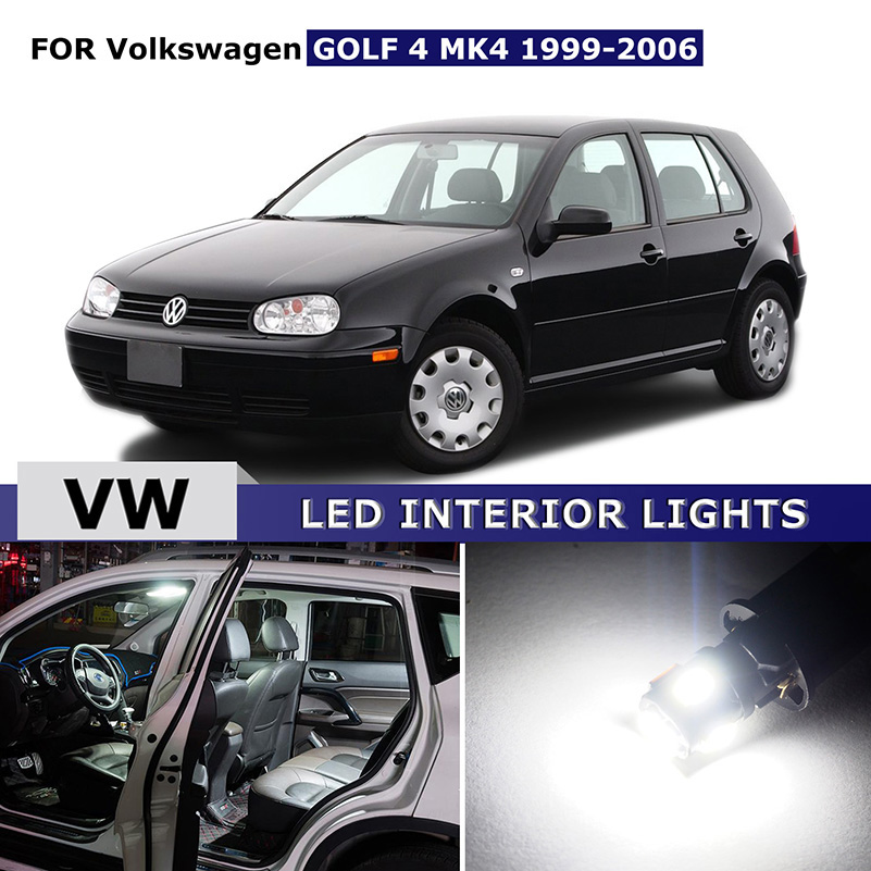 10x Canbus White Car Interior LED Lights Package Kit Bulb For Volkswagen VW GOLF 4 MK4 1996-2006 Map Dome Trunk Lights free shipping 60 17x a4 s4 b5 1998 2001 white led lights interior package kit canbus