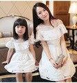 Соответствующие мать-дочь одежды летний стиль принцесса платья женщины и девушки ну вечеринку белое платье хлопок семья одежда