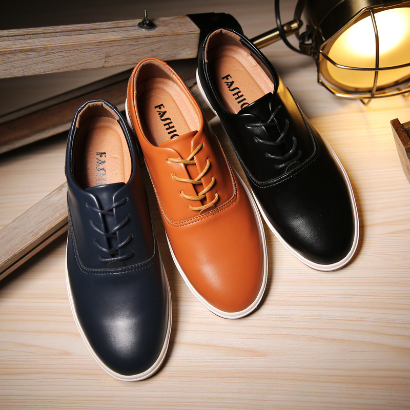 New 2019 Genuine Leather Shoes Men Spring Autumn Men Leather Footwear Flat Boat Shoes for Men Drop Shipping Chaussure Homme in Men 39 s Casual Shoes from Shoes