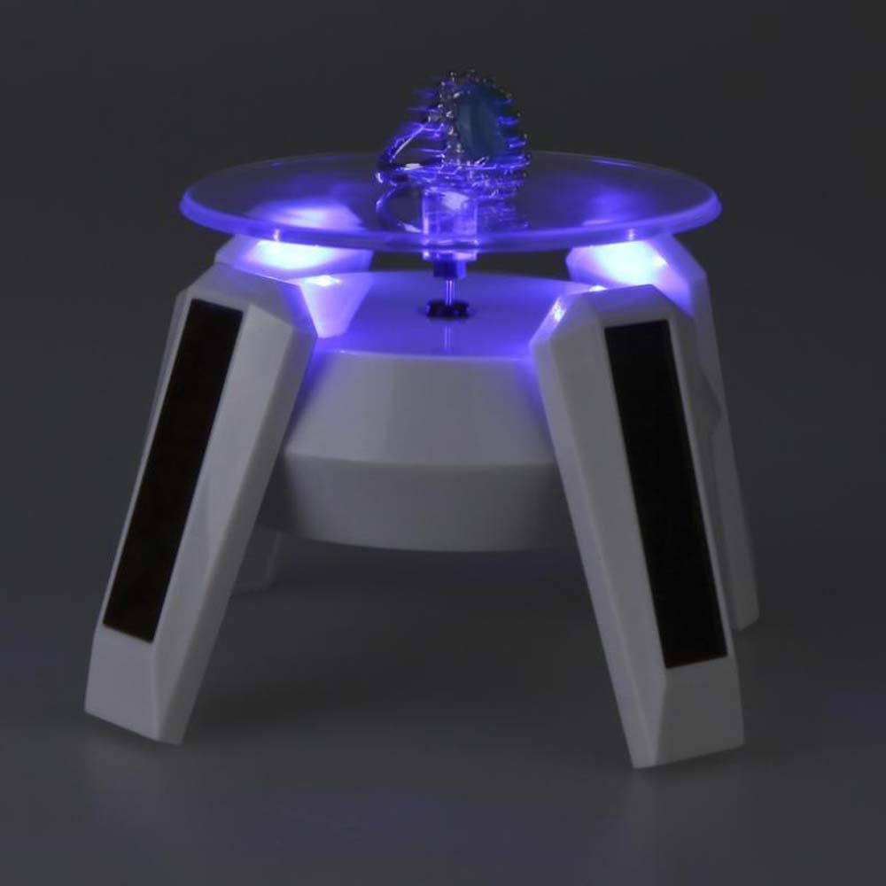 White Solar Powered Jewelry Phone Rotating Display Stand Turn Table with LED Light Home Decorat