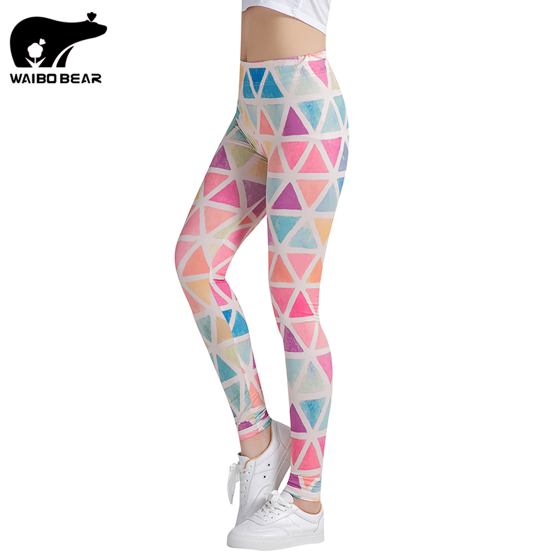 Colorful Traingles Printed Women Leggings Sexy Female Leggings  Mujer Pants Fitness High Elastic Bodybuilding Trouser WAIBO BEAR