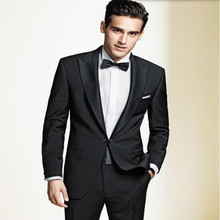 High quality men suits handsome groom suits tuxedos black lapel one button groomsman suits prom suits tuxedos(jacket+pants)