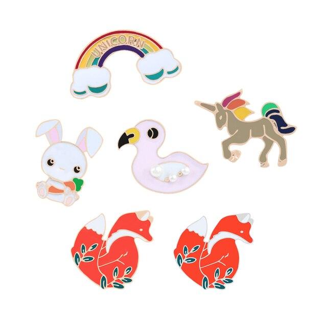 Enamel Kartun Kpop Bros Red Fox Bebek Cloud Kelinci Kuda Jaket Kerah Pin Tas Ikon Lencana Wanita Perhiasan Hadiah untuk Anak-anak