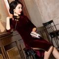 new 2016 cheongsam retro burgundy three-quarter sleeve simple women dress solid elegant fashion improved solid cheongsams