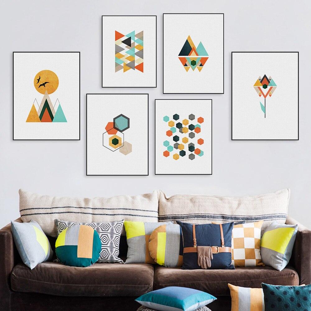 Original Watercolor Geometric Abstract Shape Mountain Sun