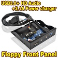 """Interno de 3.5 """"Disquete Painel Frontal Suporte Porta USB 3.0 Hub & 2A Carregador De Energia, HD Audio + Interface de Microfone, para PC"""