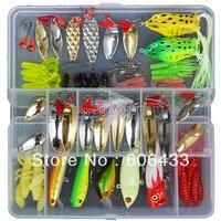 129 Lots Fishing Fish lure popper soft lure Spoon HookBait froglure set