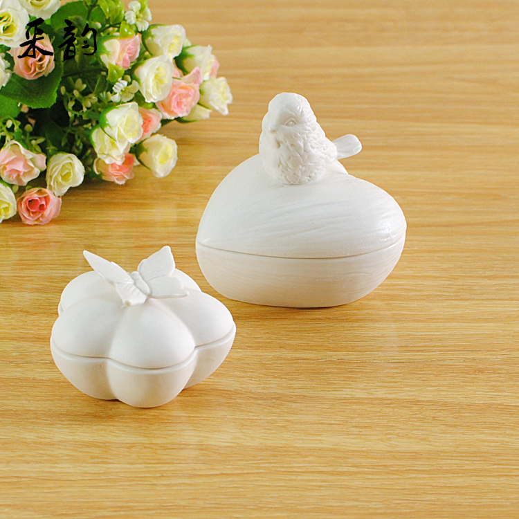 handmade creative heart shaped white ceramic jewelry box butterfly bird design
