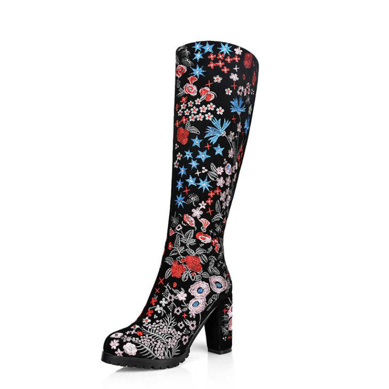 ФОТО 2017 New Black Flowers National Style Embroidery Zip Thigh High Boots Round Toe High Heel Women Brand Shoes Over The Knee Boots
