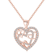 цена на Romantic Heart CZ Pendant Necklace For Women Ladies Rose Gold Chain Jewelry Lover Mother's Day Gifts