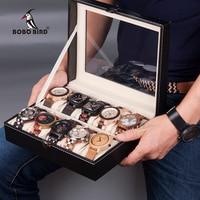 BOBO BIRD Leatherette Watches Boxes 6 Slots/ 10 Slots Watch Jewelry Set Storage Box Display Organizer Case