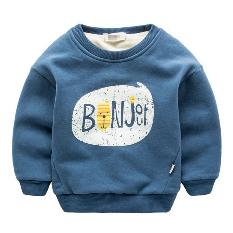 Baby Boys Tops Pullover Childrens Cute Pattern Sweatshirts Casual Comfortable Cotton Kids Long-sleeve Plus Cashmere Hoodies