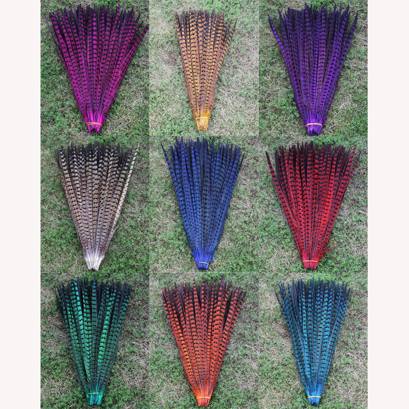 50 root sell multicoloured pheasant feather 40 45cm16 18 inch DIY handwork ornaments feather-in Feather from Home & Garden    1