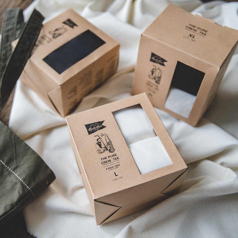MADEN, paquete de 2 piezas para hombres, camiseta de verano de algodón liso con cuello redondo de manga corta de ajuste Regular