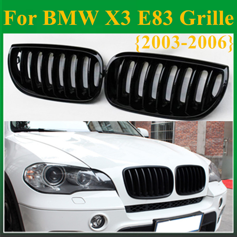 Replacement High Quality Front Racing Grill Single Slat Glossy Black Kidney Grille For BMW X3 E83 2003 - 2006 Car Styling