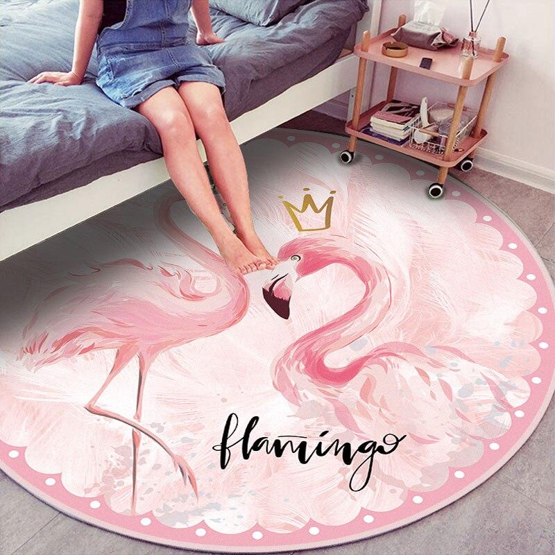 Cute Round Flamingo Carpet Pink Soft Bedroom Living Room Bed Decoration Mat