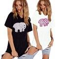 Женская мода Слон Письма Печати Футболка Повседневная Рубашка С Коротким Рукавом Смешные Свободные Летние Женщины Ти Топы H9