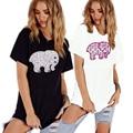 Fashion Women Elephant Letters Print T-shirt Casual Short Sleeve Shirt  Funny Loose Summer Women Tee Tops H9