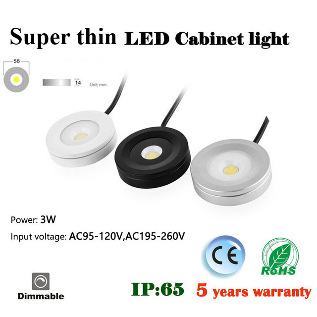 3w Led Puck Light Ceiling Installation Ultra Thin Round Led Under Cabinet Light Kitchen Lamp 110v Or 220v Dimmable
