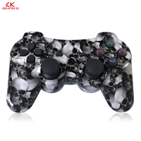 K ISHAKO Wireless Bluetooth For PS3 Joystick Game Controller For Sony Play Station 3 Feature With Six Axis Shock Black Skull