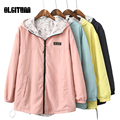 Women Jacket  Spring Fashion  Zipper Pocket hooded two side wear  Loose outwear coat