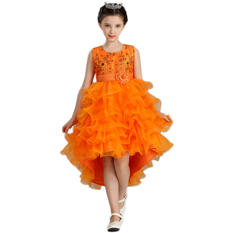 Children Girls Party Dress Summer Sleeveless Ball Gown Gilding Embroidery Princess Layer Wedding Formal Upmarket Girls Dresses ball gown dresses princess vest lace dress 2017 summer new children lovely clothes girls strap voile dress embroidery and bead