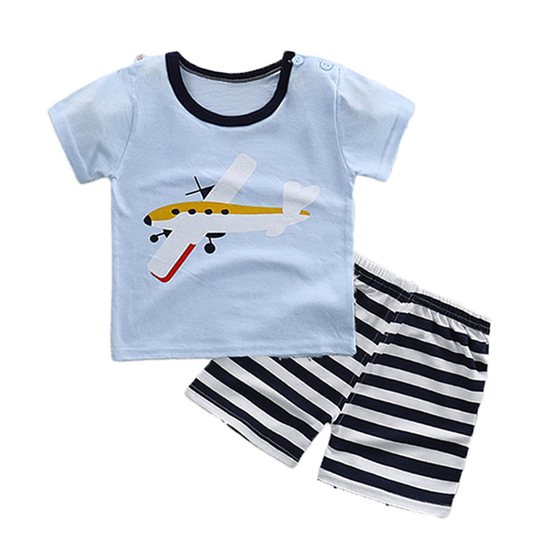 Newborn Baby boys suit for summer baby boys girls casual child clothing T shirt+shorts sets infant printed multi clothes set