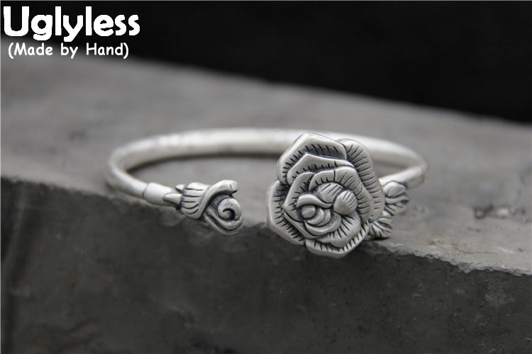 Uglyless Real S999 Fine Silver Women Noble Peony Flower Bangles Ethnic Vintage Opening Bangle Handmade Carved Buddha Hand BijouxUglyless Real S999 Fine Silver Women Noble Peony Flower Bangles Ethnic Vintage Opening Bangle Handmade Carved Buddha Hand Bijoux