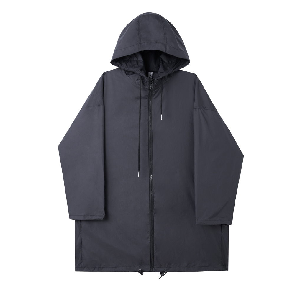 Men Loose Hooded Trench Coat Male Women High Street Fashion Hip Hop Casual Black White Thin Windbreaker Long Jacket