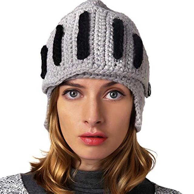 Men Women Roman Cosplay Knight Helmet Visor Crochet Knit Beanie Hat