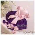 Rosa Sain e Paetês Roxo vestidos da menina de flor Mangas curtas bebê 1 ano Vestido de Festa de Aniversário da Menina da criança pageant Vestido