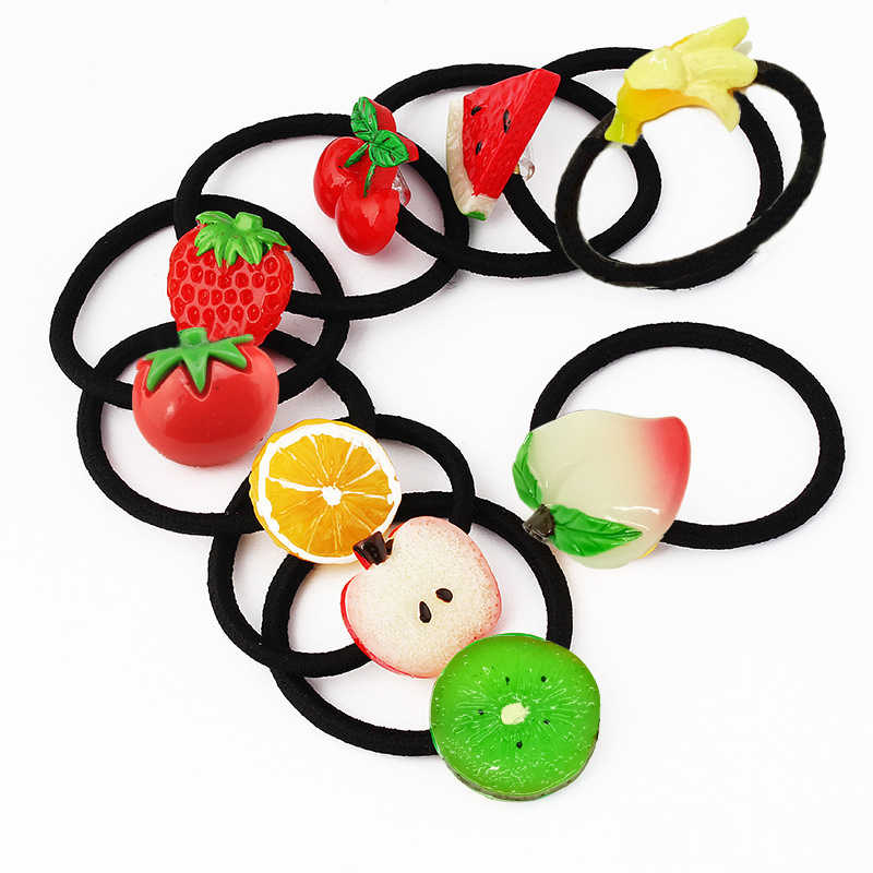 New Summer Style Small Size Fruits Slice Fashion Hair Accessories  Kids Women Elastic Hair Bands Ponytail Holder Headwear Gum